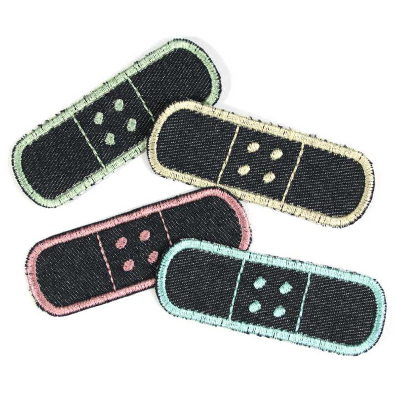 Iron-on patch Set of pastel iron-on colors 4 Trouser patches Pack of knee patches Organic jeans repair patches
