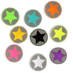 Bügelflicken mini Stern Set 9 Flicken Neon Sterne auf grau kleine Patches zum Aufbügeln Hosenflicken Sternchen Applikation