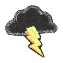 Bügelbild Blitz mit Wolke glitzer Flicken neon Bügelflicken metallic Aufbügler klein patch
