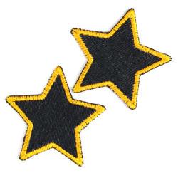 Bügelflicken Set Sterne 2 Flicken Bio blue Jeans Neon orange hell gefasst 7cm Hosenflicken Aufnäher