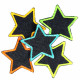 iron on patch flickli! blue jeans small stars 5 items set neon trim