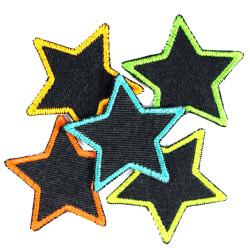 Flicken Set Sterne 5 Stück auf Bio blue Jeans neon bunt 7cm Hosenflicken
