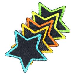 iron on patch flickli! blue jeans small stars 5 items set neon trim