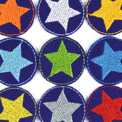 Iron on Patch Star 9 Mini repair patches Neon Stars Set of Colorful Little Patches Trouser Patches on blue