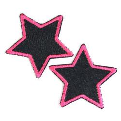 Bügelflicken Sterne 2 Flicken Bio blue Jeans Neon rosa pink gefasst 7cm Hosenflicken Aufbügler klein