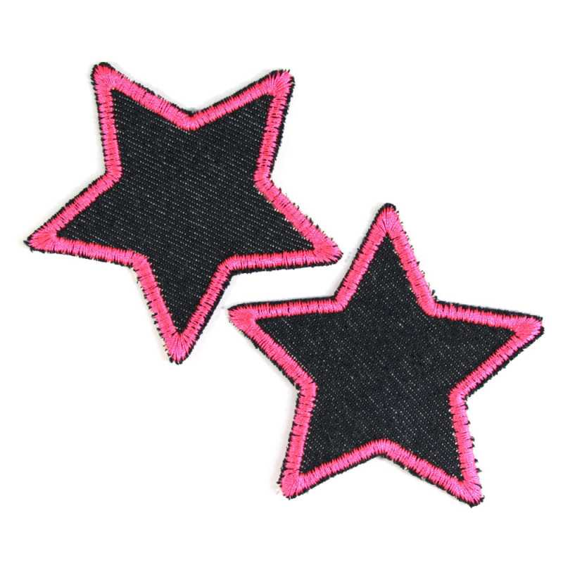 Iron-on patch embroidery pink stars 2 patches of organic blue jeans lightly sewn 7cm Trouser Patch small textile repair patches