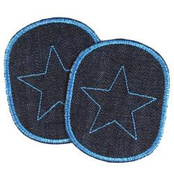 Hosenflicken Set Bio Jeans mit Stern blau auf dunkelblau 2 Knieflicken Aufbügler für Kinder