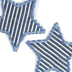 Iron-on patches Stars 2 repair patches stripes Star iron-on patch Jeans patch maritime small iron-on appliques blue