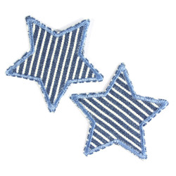 Bügelbilder Sterne 2 Aufbügler mit Streifen Stern Aufnäher zum Aufbügeln Jeansflicken maritime kleine Bügelflicken Patches blau