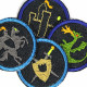 Iron-on patches knight rider castle dragon 4 knee Patches small iron-on repair-patches organic denim Patches Trouser patch