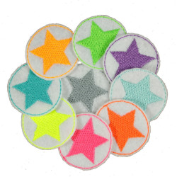 Iron on Patch Star 9 Mini Irepair patches Neon Stars on white Colorful Little Patches round Patches