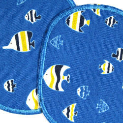 Iron-on Patches Blue 2 knee Patch Fish Iron-On repair Patch Set Blue  for kids