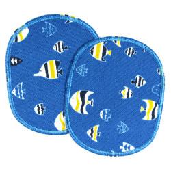 Hosenflicken Fische blau 2 Bügelflicken Fisch Flicken zum Aufbügeln Set blau Knieflicken für Kinder zum Hosen reparieren