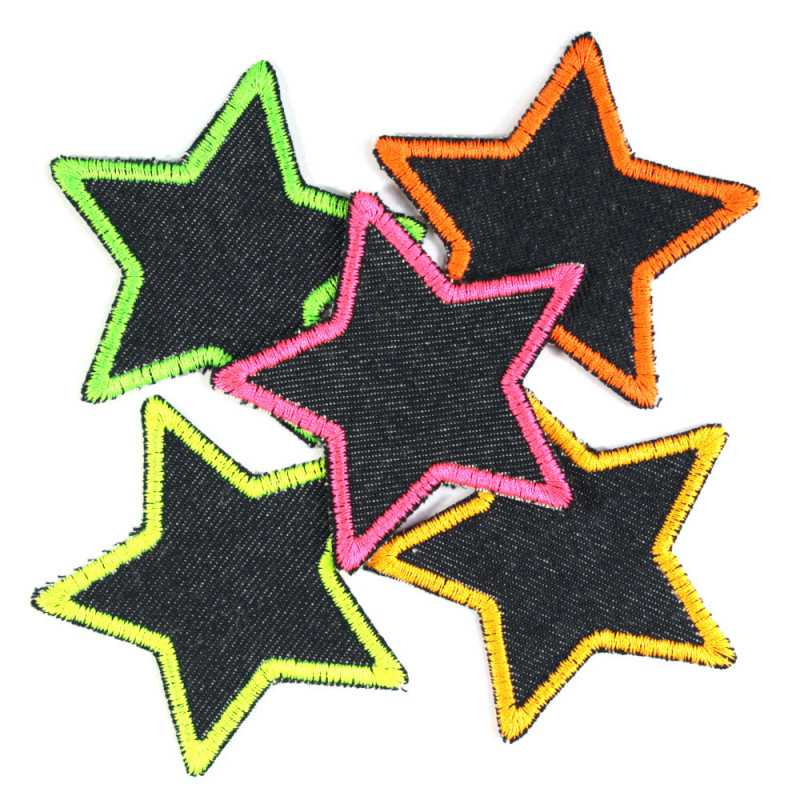Patch Star Set 5 Pieces Neon Iron-On Patches Colorful Stars Trouser Patches organic denim Patches for Girls Pink repair patches