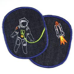 Flicken Astronaut Hosenflicken space shuttle set Bio Jeansflicken Weltraum Bügelflicken XL Knieflicken Raumfahrt Rakete