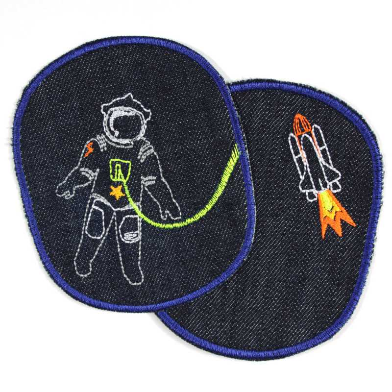 Iron on Patch Astronaut space shuttle set Organic jeans patch outer space patches XL knee patches space flight rocket