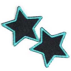 Hosenflicken organic Denim Sterne Flicken Bügelbilder kleine Sternchen Flicken türkis Bio Bügelflicken Stern Set Jeansflicken