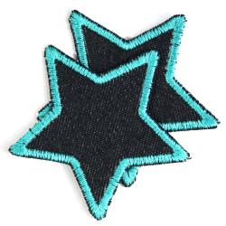 iron-on Patch organic Denim Stars Patches stars knee Patch turquoise Organic Denim repair patches Star Set