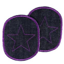 Hosenflicken für Mädchen lila Flicken mit Stern Knieflicken Set 2 Aufbügler Sterne violet auf Bio Jeans gestickt zum Aufbügeln