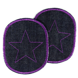 irin-on patches for girls purple patch with star knee patch set of 2 repair patch star violet on organic jeans embroidered