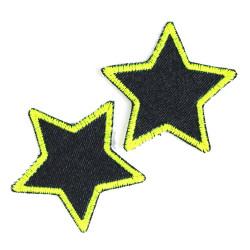Aufbügler Neon Sterne Set 2 gelbe Jeansflicken Bio Hosenflicken Stern zum Aufbügeln als kleine Patches 7cm Sternchen