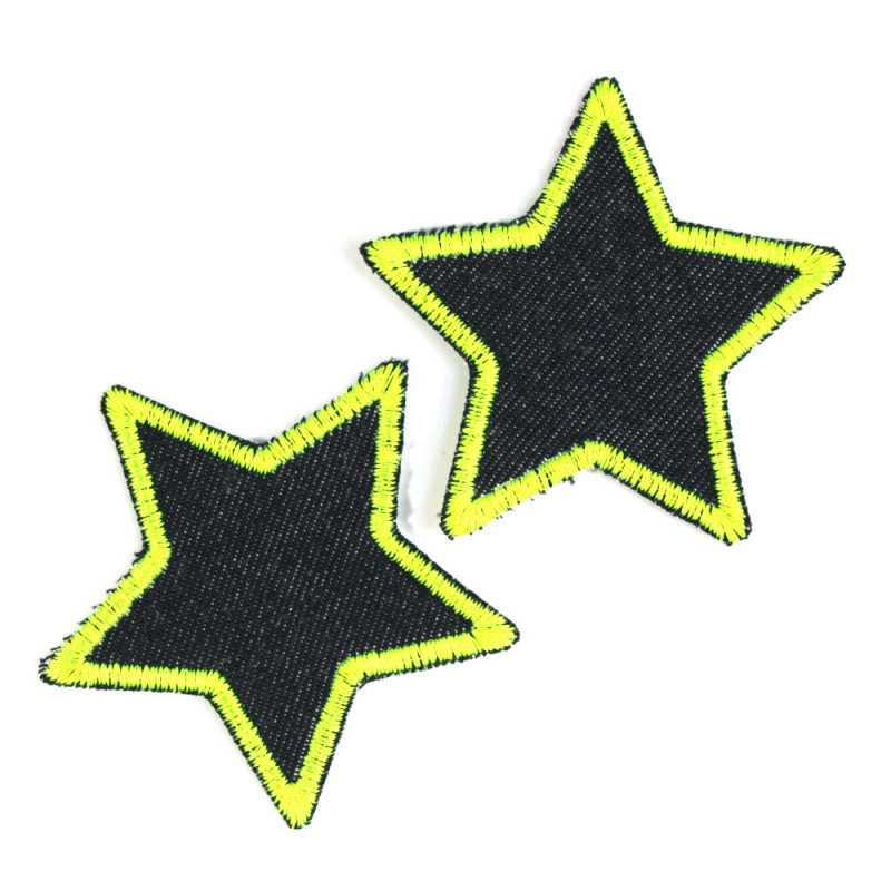 Iron-on Patch Neon Stars Set of 2 Yellow Jeans Patches Organic knee Patch Iron-on Star as Small Patches 7cm