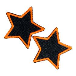 Hosenflicken Sterne Neonorange kleine Patches Jeansflicken Set 2 Aufbügler Sternchen Applikation zum Aufbügeln 7cm Stern Bio