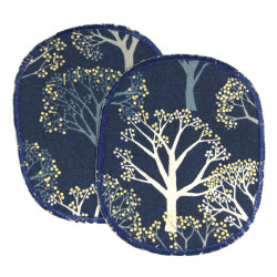 Knee patch for girls with forest motif trouser patch set trees gold dark blue fairy tale forest patch 12 x 10 cm iron-on patches