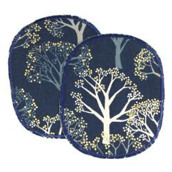 Knieflicken für Mädchen mit Wald Motiv Hosenflicken Set Bäume gold dunkelblau Märchenwald Flicken 12 x 10 cm Bügelflicken