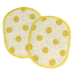 Knee Patch Set of Trouser Patches Set of Dots Yellow on Nature Patch for Kids 10x8 cm Cotton Linen knee Patches repair