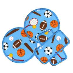 Flicken Sport Set Pflaster Hosenflicken runde Knieflicken 3 Bügelflicken Ball Patches für Kinder