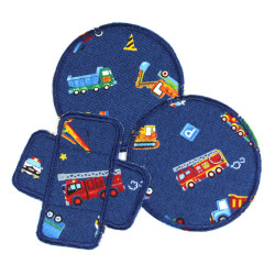 Iron-o Patches cars and trucks Set Patch Trouser Patches Round Knee Patch 3 Iron-on Badges vehicles engines Patches for Kids
