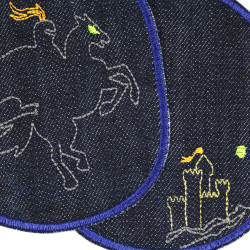 Iron on Patch knight XL set rider and horse organic denim knee patch castle blue