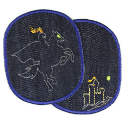 Hosenflicken Ritter XL Flicken Set Ritterburg organic Jeans blau Knieflicken große Aufbügler