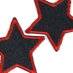 Iron-on Patches red Stars blue organic Denim 2 repair Patches Set Small Stars 7cm