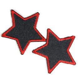 Flicken rot Stern blaue Jeansflicken organic Hosenflicken 2 Aufnäher zum Aufbügeln kleine Stern Bügelflicken im Set 7cm