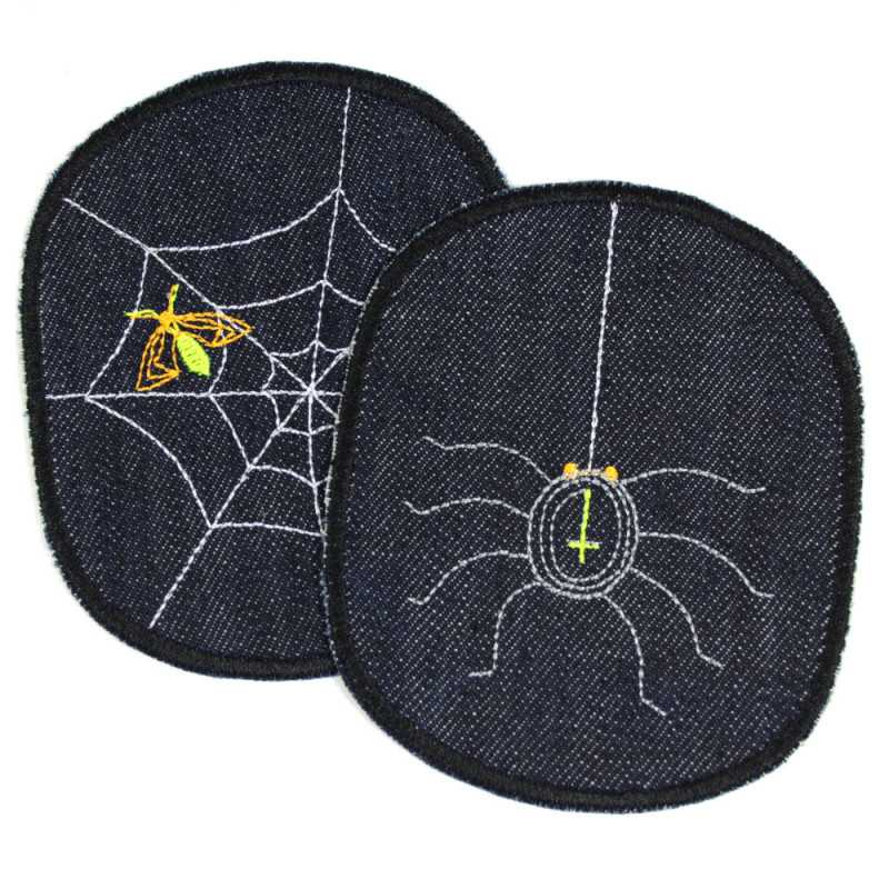 Iron on Patch spider & spider web XL set halloween organic denim knee patch blue jeans applique