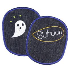 Bügelflicken Halloween Gespenster Aufbügler Set große Flicken Gespenst Knieflicken 2 Hosenflicken organic Jeansflicken XL