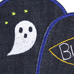 Iron-on patch Halloween ghosts patch set large patches ghost knee patches 2 trouser patchs organic denim patches XL repair patch