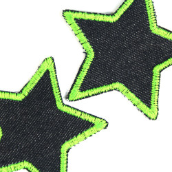 Patch Star Set 2 iron-on patches 7cm Small repair-Patches Neon Green Jeans Patches for ironing Star Patches Organic Denim