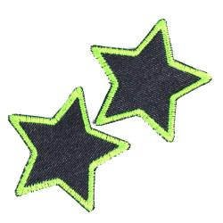 Flicken Stern Set 2 Aufbügler 7cm kleine Bügelflicken Neon grün Bio Jeans Aufnäher Jeansflicken zum Aufbügeln Sterne Patches org