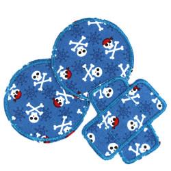 Hosenflicken Piraten Set blau 3 Knieflicken im Skull Set 2 runde Bügelflicken und 1 Pflaster mit Seeräuber Motiv Knochen