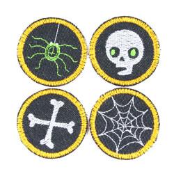Flicken Set Halloween Aufnäher Spinne Spinnennetz Knochen Totenkopf Bügelbilder Skull neon Bügelflicken kleine Hosenflicken