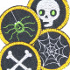 Iron-on Patches Set Halloween repair Patch Spider Spiderweb Bones Skull Iron-On knee Patches Neon Small Trouser Patches