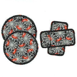 Iron-on patch spider and web Set 3 knee Patches to iron on as repair Patch black gid Patch round 2 and 1 plaster patch