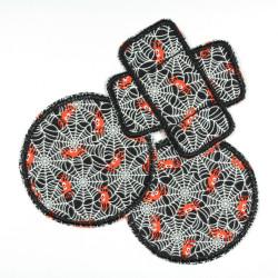 Hosenflicken Spinne Set 3 Flicken zum Aufbügeln als Knieflicken schwarz gid Aufbügler rund 2 und 1 Pflaster Patch