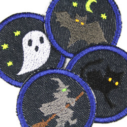 Iron-on patches set Ghost cat bat witch 4 patches organic denim knee patch ironing small repair iron-on patches round