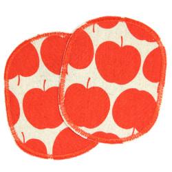 Hosenflicken Set Apfel rot Baumwoll-Leinen 2 Knieflicken Bügelflicken für Kinder Obst Aufbügler Äpfel Flicken Aufnäher