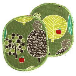 Bügelflicken Bäume mit Apfel rot auf grün 2 Knieflicken für Kinder Hosenflicken Natur Motiv groß 12 x 10 cm zum flicken
