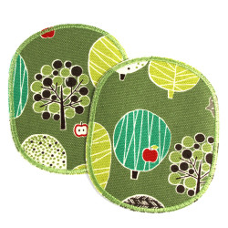 Iron-on patch Trees with apple red on green 2 knee patches for children Trouser-patch nature motif large to mend repair patches